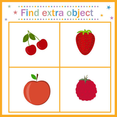 Map for the development of children, find an extra object where the fruit is among the berries, the Apple is extra. Vector illustration. Design of children's books, preschool education