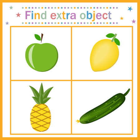 Map for children's development, find an extra object where a vegetable is among the fruits, a cucumber is extra. Vector illustration. Design of children's books, preschool education