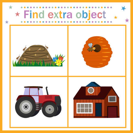 Map for children's development, find an extra object, theme house, tractor is an extra picture. Vector illustration. Design of children's books, education Illustration