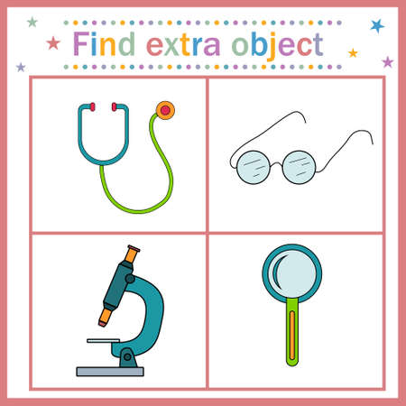 Map game for children's development, find an extra object where all objects can zoom in except the stethoscope, the stethoscope is extra. Vector illustration. Design, education