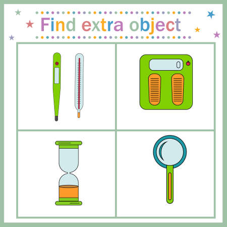 Map game for children's development, find the extra object, where all the objects measure time, temperature, weight, except the magnifier, the magnifier is extra. Vector illustration. Design, educatio
