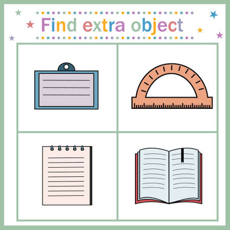 Educational card for children, find an extra object that shows paper supplies with space for writing and a ruler protractor, extra ruler. Vector illustration. Design of children's books, education