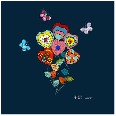 Romantic bouquet of red hearts and butterflies in collage style, isolated, vector illustration Vettoriali