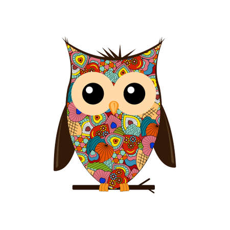 Predatory night bird owl is made in the style of a collage of bright red color, white background, vector
