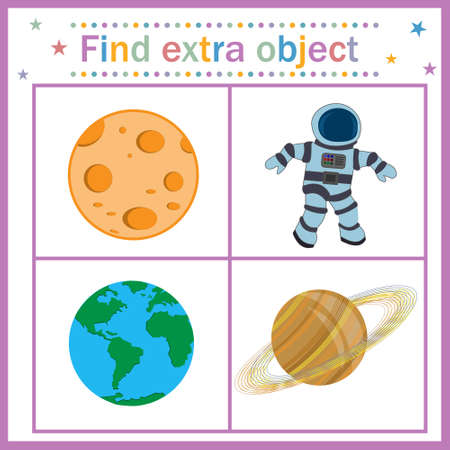 Map game for children's development, find an extra object, where all objects are round the planet, except the person, the person is extra. Vector illustration. Education, design