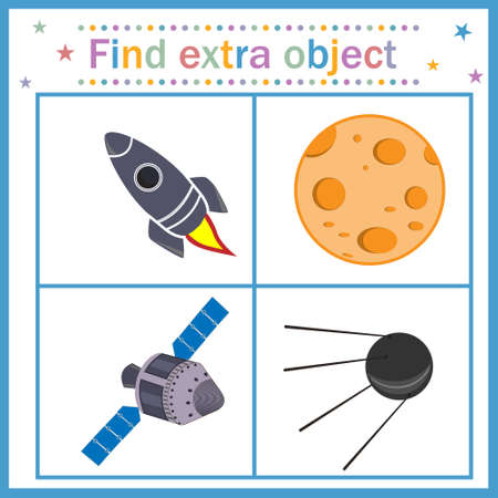 Map game for children's development, find an extra object, where all objects are made by man, except the moon, the Moon is extra. Vector illustration. Education, design