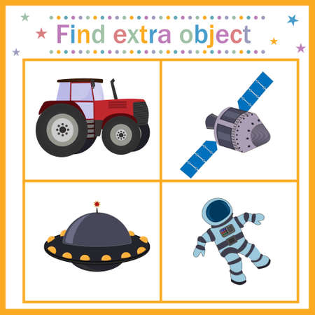Map game for children's development, find an extra object, where all the objects belong to the space, except the tractor, the tractor is extra. Vector illustration. Education, desig