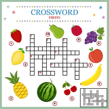 Crossword, the theme of the fruit. With answers. Vector color illustration on a white background. Development and education of children, design of textbooks