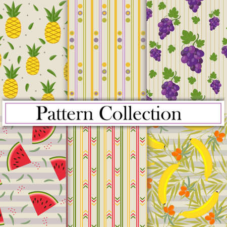 Set, Collection, fruits and geometric patterns with the image of berries and fruits, vector, beige background. Texture, printing, design, decoration Ilustração
