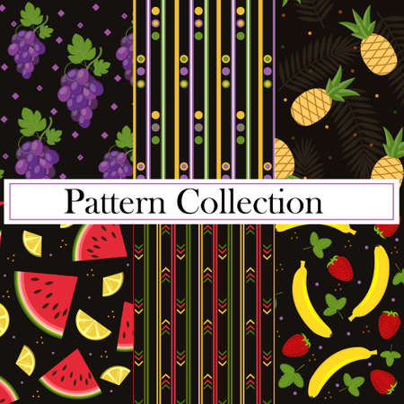 Set, Collection, fruit and geometric patterns with the image of berries and fruits, vector, black background. Texture, printing, design, decoration