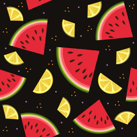 Fruit pattern with watermelon and lemon, vector, background black. Texture, printing, design, decoration