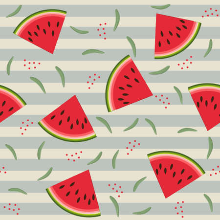 Fruit pattern with watermelon and leaves, vector, beige stripe background. Texture, printing, design, decoration Ilustração