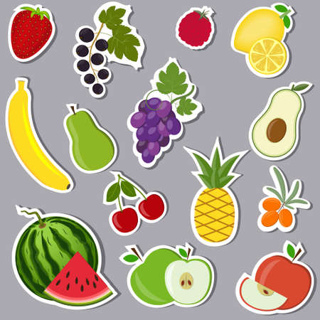 Fruit stickers on a gray background, color vector illustration, design, decoration