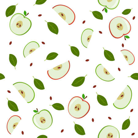 Pattern of green and red apples, whole and cut with additional elements of leaves, color vector illustration on a white background, print, design, decoration, textiles