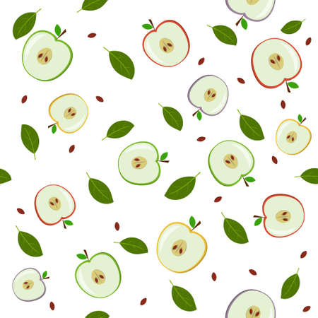 A pattern of fruit, multicolored apples in a section and leaves. Color vector illustration. Design, decoration, texture, print, Wallpaper, textiles.