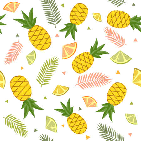 A tropical pattern on a white background of fruit, pineapple, lemon, lime and palm leaves. Color vector illustration. Design, decoration, texture, print, Wallpaper, textiles.