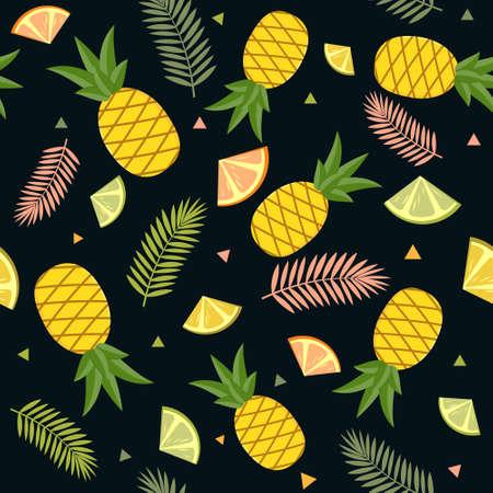 Tropical pattern on a white background of fruit, pineapple, lemon, lime and palm leaves. Color vector illustration. Design, finish, texture, print, Wallpaper, textiles. Ilustração