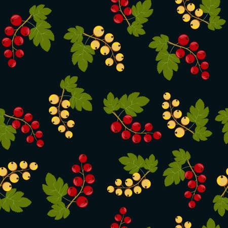 Pattern of red and yellow currant berries on a branch. Color vector illustration. Background dark, Design, finish, texture, print, Wallpaper, textiles.