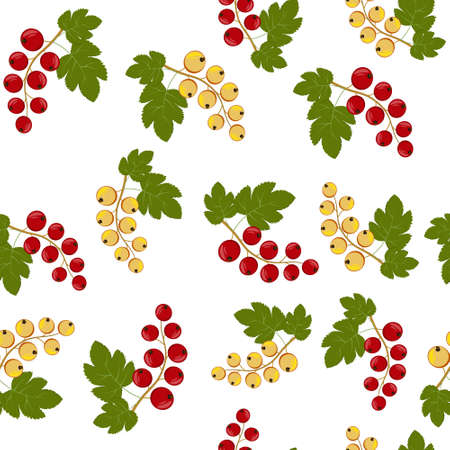 A pattern of berries, red and yellow currants and leaves from it. Color vector illustration. Design, decoration, texture, print, Wallpaper, textiles