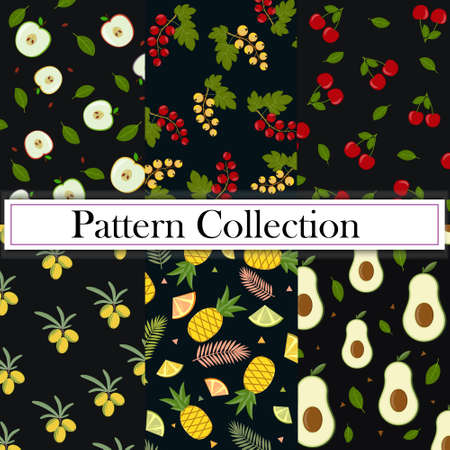 A collection of sets and six Patterns of fruit and berries on a dark background. Color vector illustration. Design, decoration, texture, print, Wallpaper, textiles.