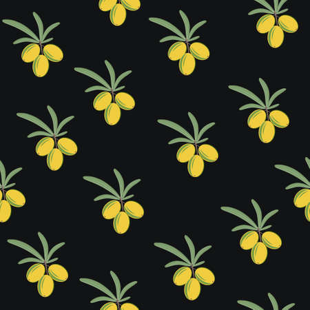 Pattern of fruit, bunches of sea buckthorn berries and leaves. Color vector illustration. Background dark, Design, finish, texture, print, Wallpaper, textiles.
