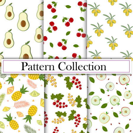 Set, Collection of fruit and berry patterns, vector illustration, white background. Texture, printing, print, textile, decoration, design