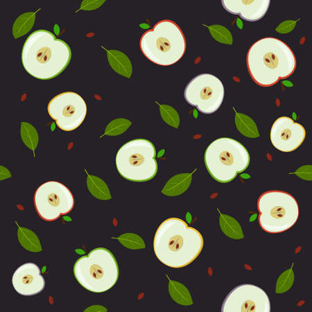 A pattern of fruit, multicolored apples in a section and leaves. Color vector illustration. Background dark, Design, finish, texture, print, Wallpaper, textiles. Ilustração