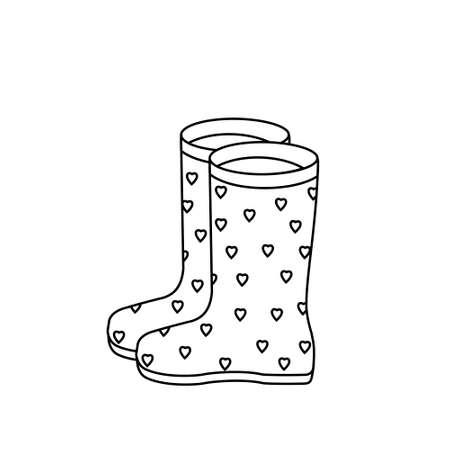 rubber boots black outline white background Stock Illustratie