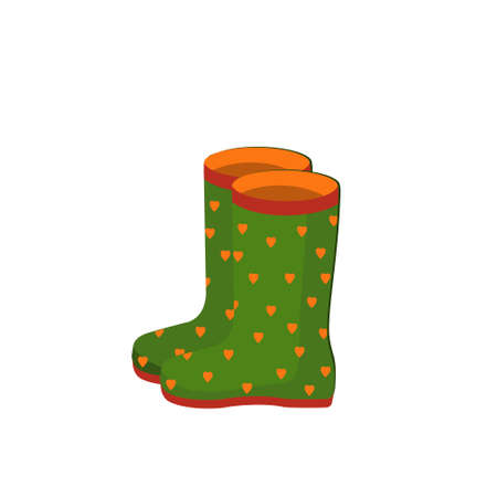 green rubber boots with hearts isolated on white background Stock Illustratie