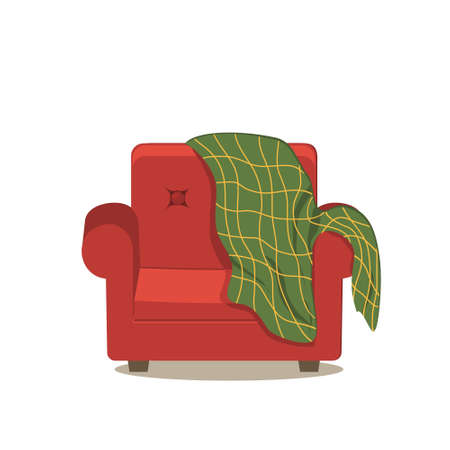Red chair covered with a green plaid stripe, color isolated illustration