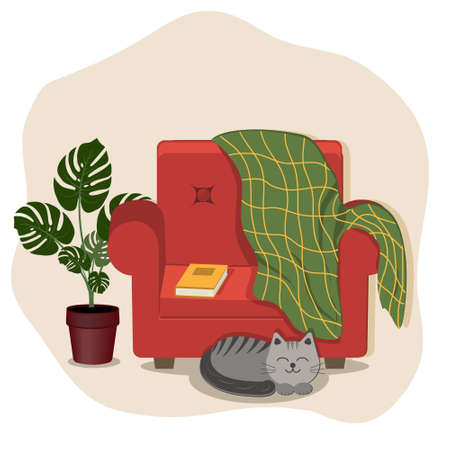 A composition of comfort, a red chair with a blanket and a book, a cat lying next to it and a flower, a color marble illustration, a clipart, design, decoration, an icon, a sign, a sketch, a banner,