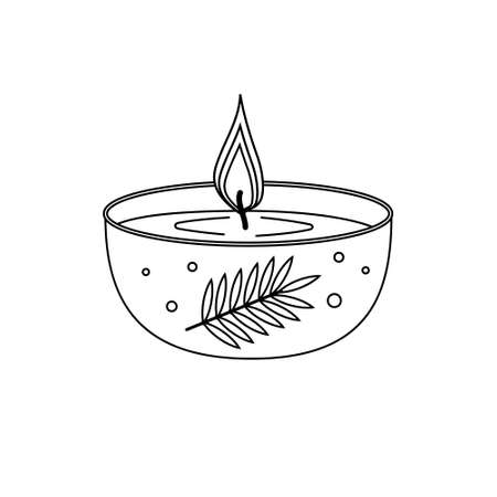 Burning candle decorated black outline white background, isolated, sketch, coloring, clipart, design, decoration, icon