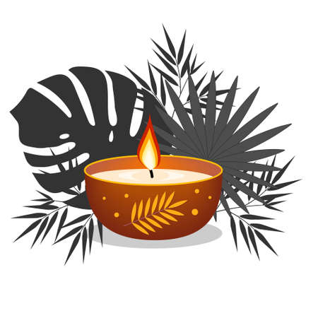 Candle decorated on a background of tropical leaves, clipart, design, decoration, icon, banner