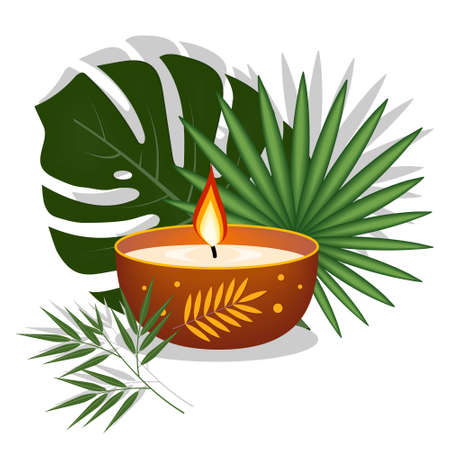 Candle decorated on a background of tropical