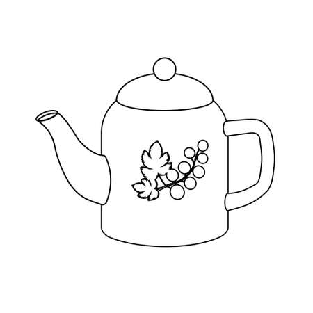 Teapot, black outline, white background, coloring, icon, design Ilustrace