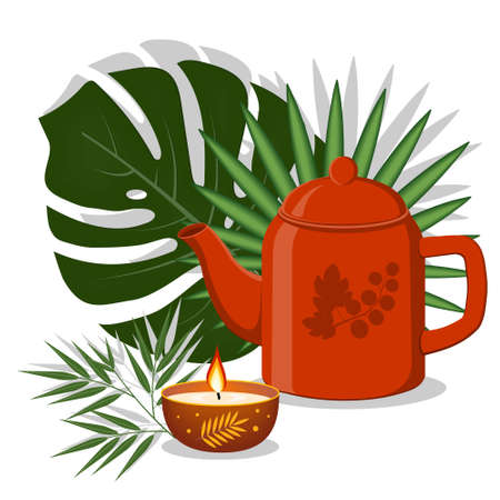 Teapot teapot and decorated candle on a background of tropical leaves color illustration, clipart, design, decoration, icon, sign, banner