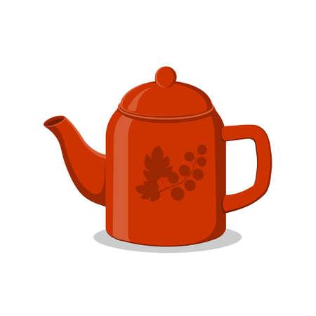 Teapot polished on white background, color illustration, clipart, design, decoration, icon, sign, banner
