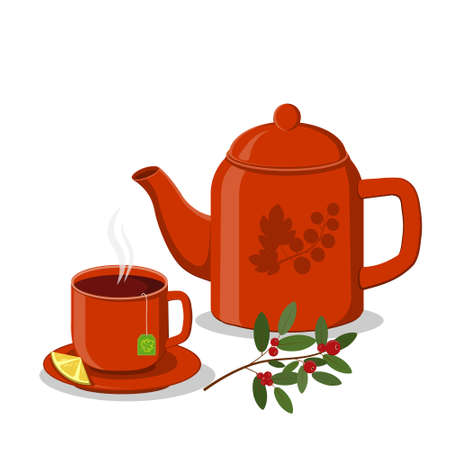Set of Teapot and Cup on a saucer with red lemon, color illustration, clipart, design, decoration, icon, sign, banner