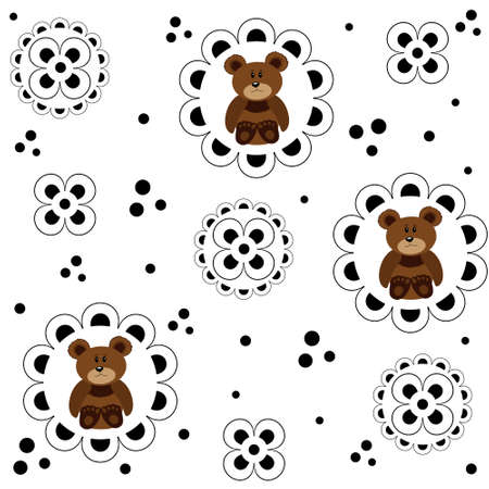 Seamless pattern with small bears and other decorative elements on a white background