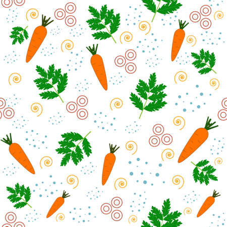 carrot and leaf pattern on white background