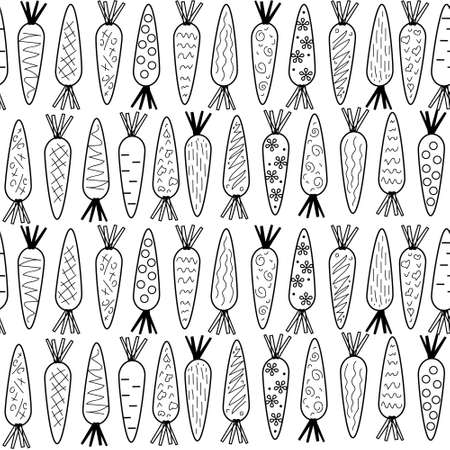 carrot Doodle pattern on white background