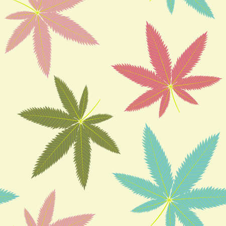Pattern with hemp leaves of different colors on a yellow background vector illustration