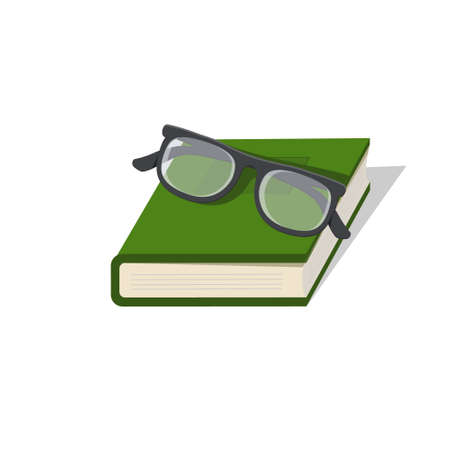 Glasses are lying on a book, color illustration isolated on a white background
