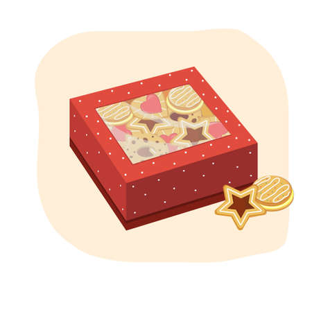 Red gift box with cookies illustration Ilustrace