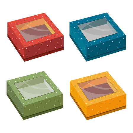 Set of multi-colored gift boxes, isolated color  illustration on a white background Ilustrace