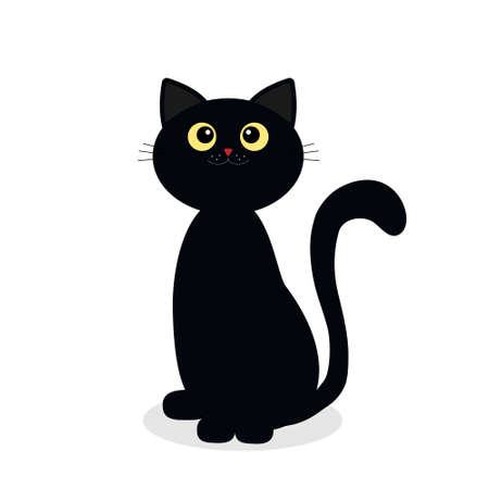 black cat for Halloween isolated on a white background