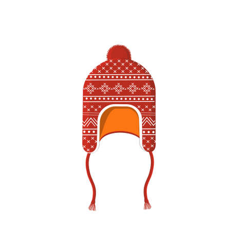 Winter red hat with white ornament, isolated color  illustration on a white background