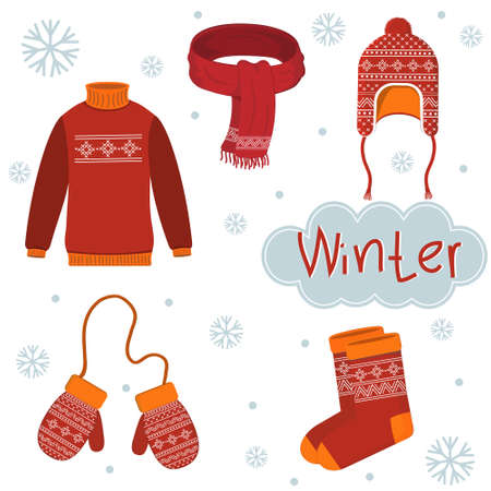 Set of warm winter clothing with ornaments, color  illustration