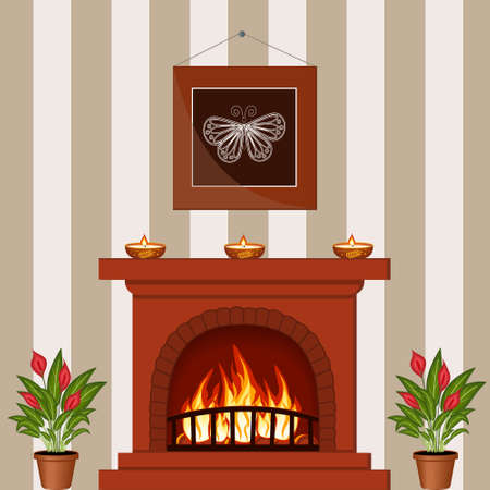 interior with a fireplace and a picture on the wall Ilustrace