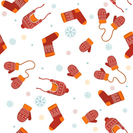 pattern of items of warm winter clothing on a white background